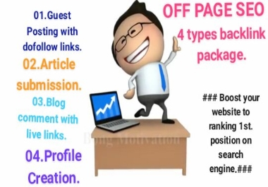 I will provide you 4 types of Strong backlink to boost & ranking your website on search engine.