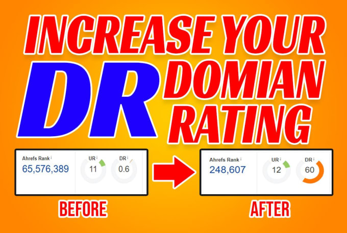 I will Increase Domain Rating or Ahrefs Domain Rating or increase DR of your Domain from 15 To 60+