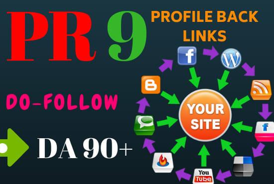 I will manually create 100 pr9 da 90 dofollow profile backlinks