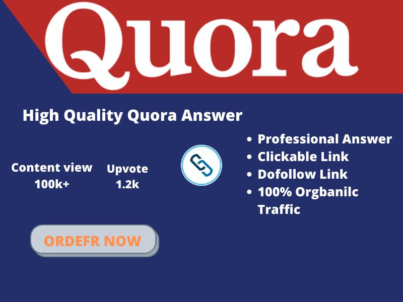 I will provide you 5 contextual quora backlinks via article blog marketing service