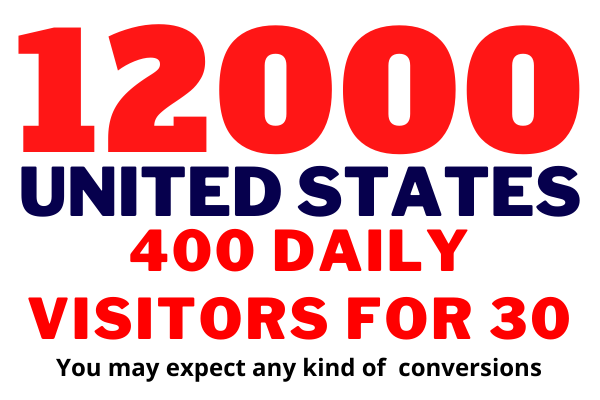 Get USA targeted,  12,000 visitors web traffic