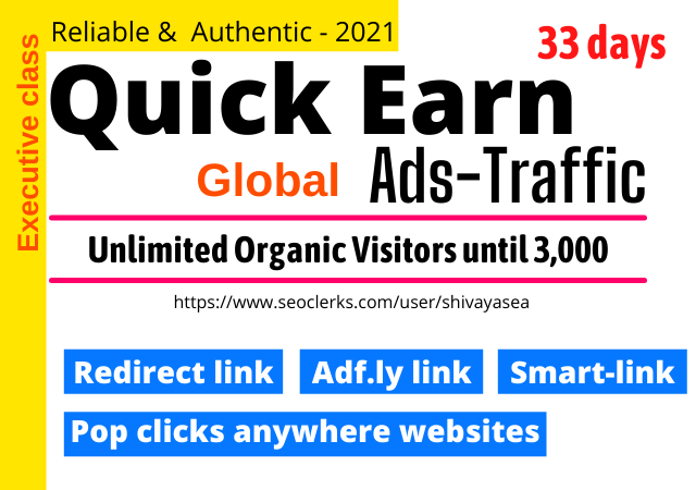 Quick earning by unique web traffic visitors