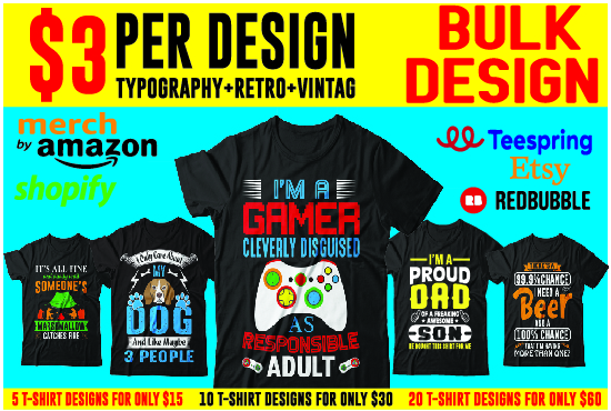 I will do typography and custom t shirt design for you