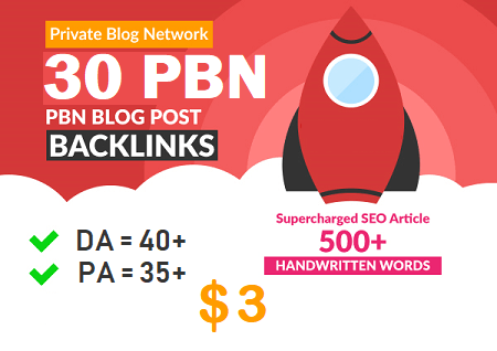 DA 40+ PA 35+ PR 5+ web2.0 30 pbn in unique 30 sites