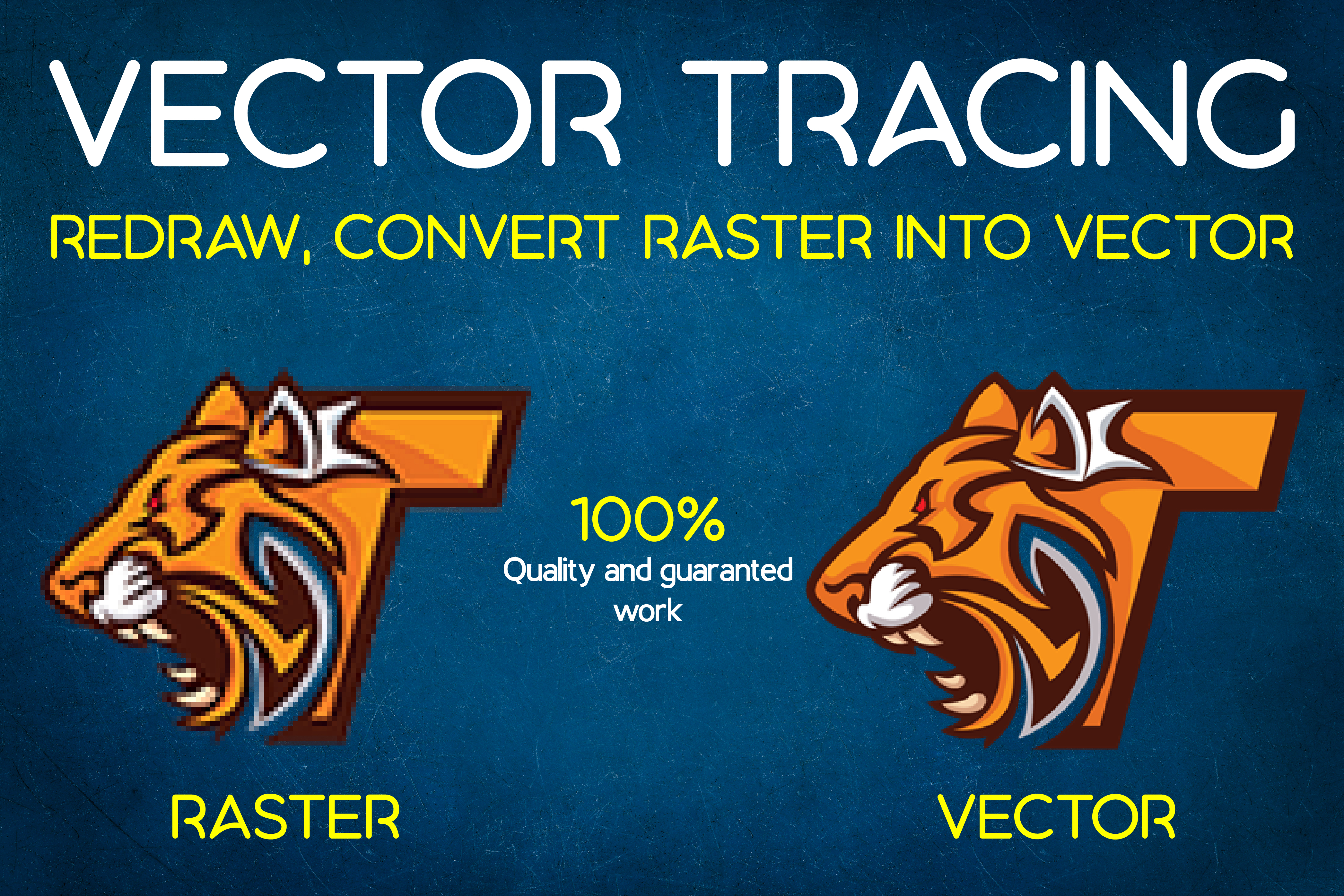 Do vector tracing, redraw and convert raster images into vector
