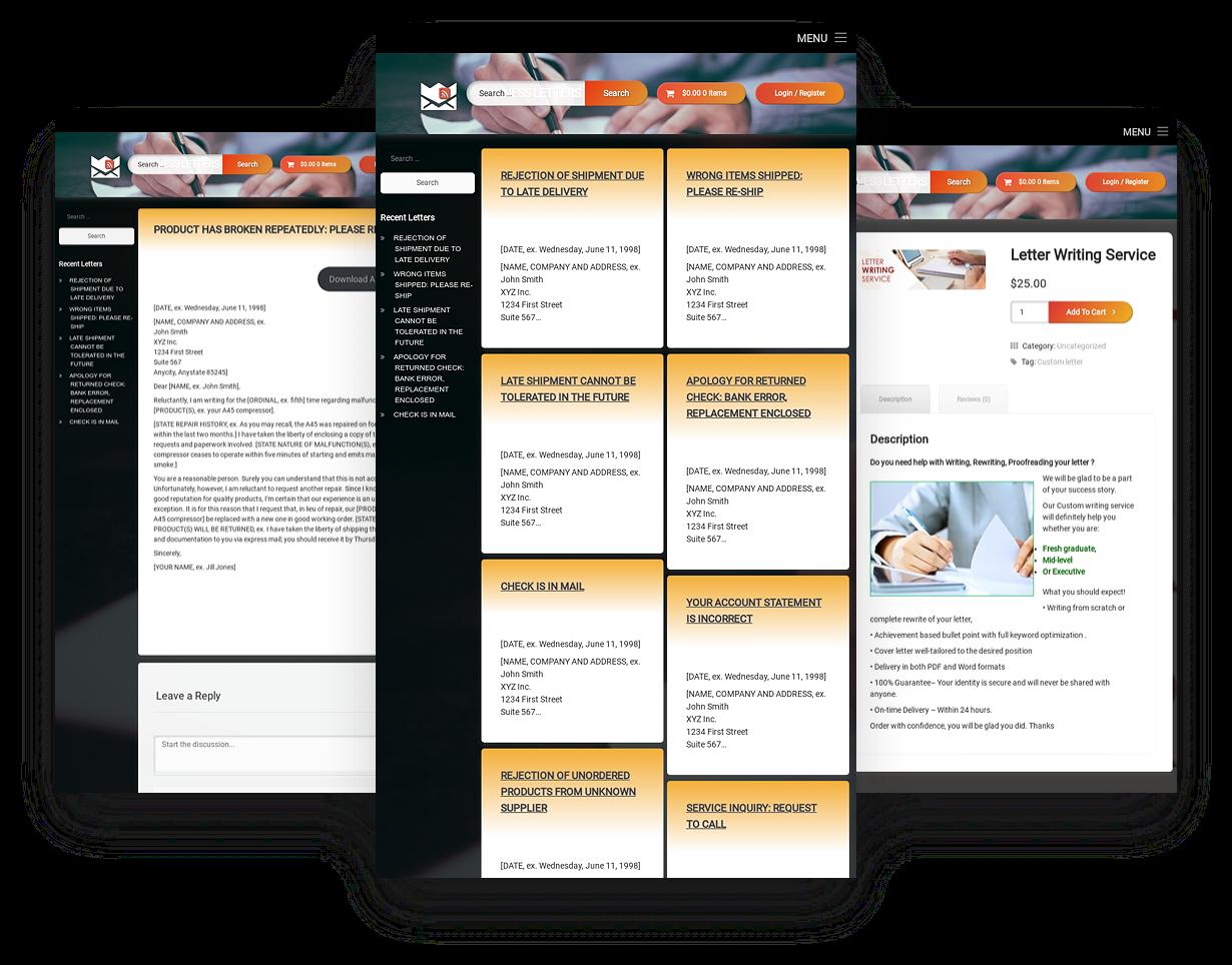 Established WordPress Business Letters Website