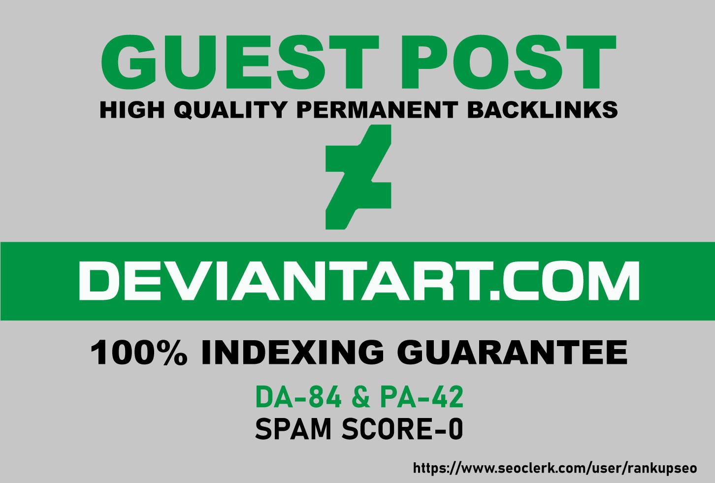 Publish A Guest Blog Post On deviantart. com DA-84 With 100% Indexing guarantee