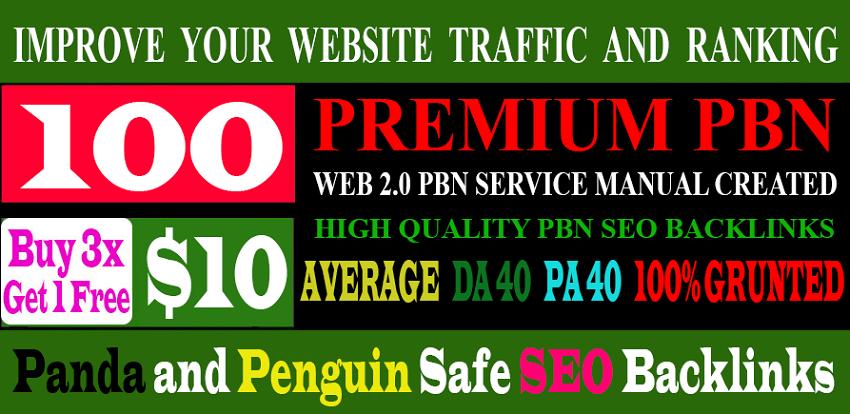 Unique 100 Sites DA 40+ PA 35+ PR 5+ Web 2.0 100 PBN