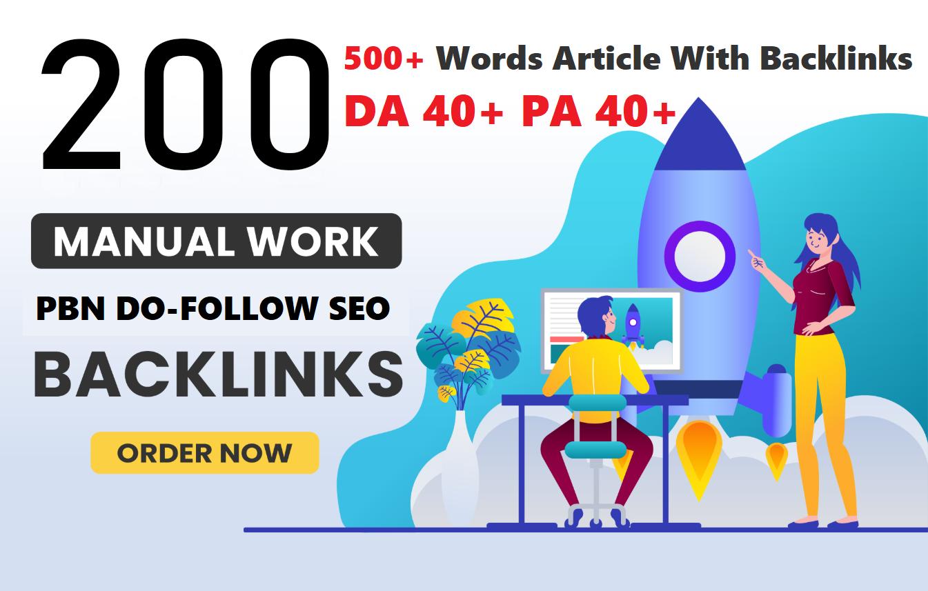 Unique 200 Sites DA 40+ PA 35+ PR 5+ Web 2.0 200 PBN