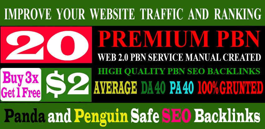 Unique 20 WEB 2.0 Sites DA 40+ PA 40+ PR 5+ Dofollow Backlinks