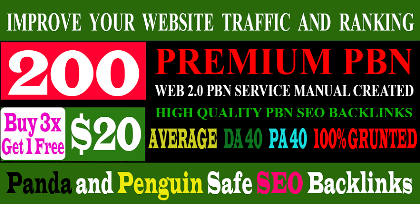 Unique 200 Sites DA 40+ PA 35+ PR 5+ Web 2.0 200 PBN