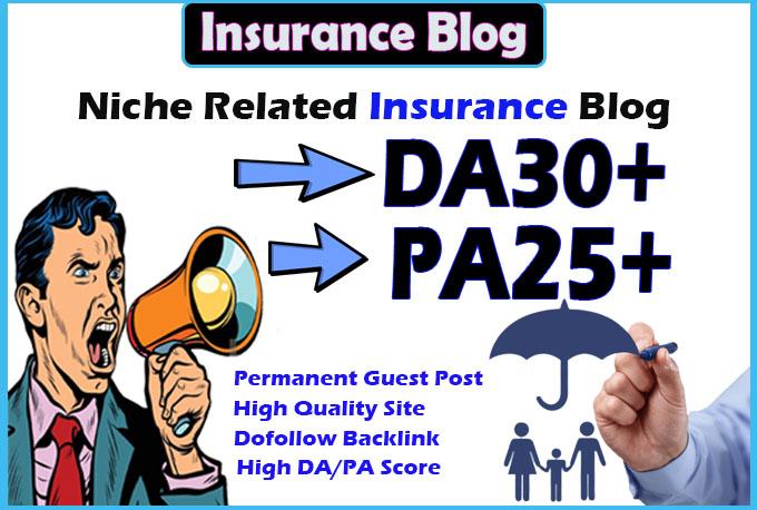 give you da30 insurance site guest post permanent