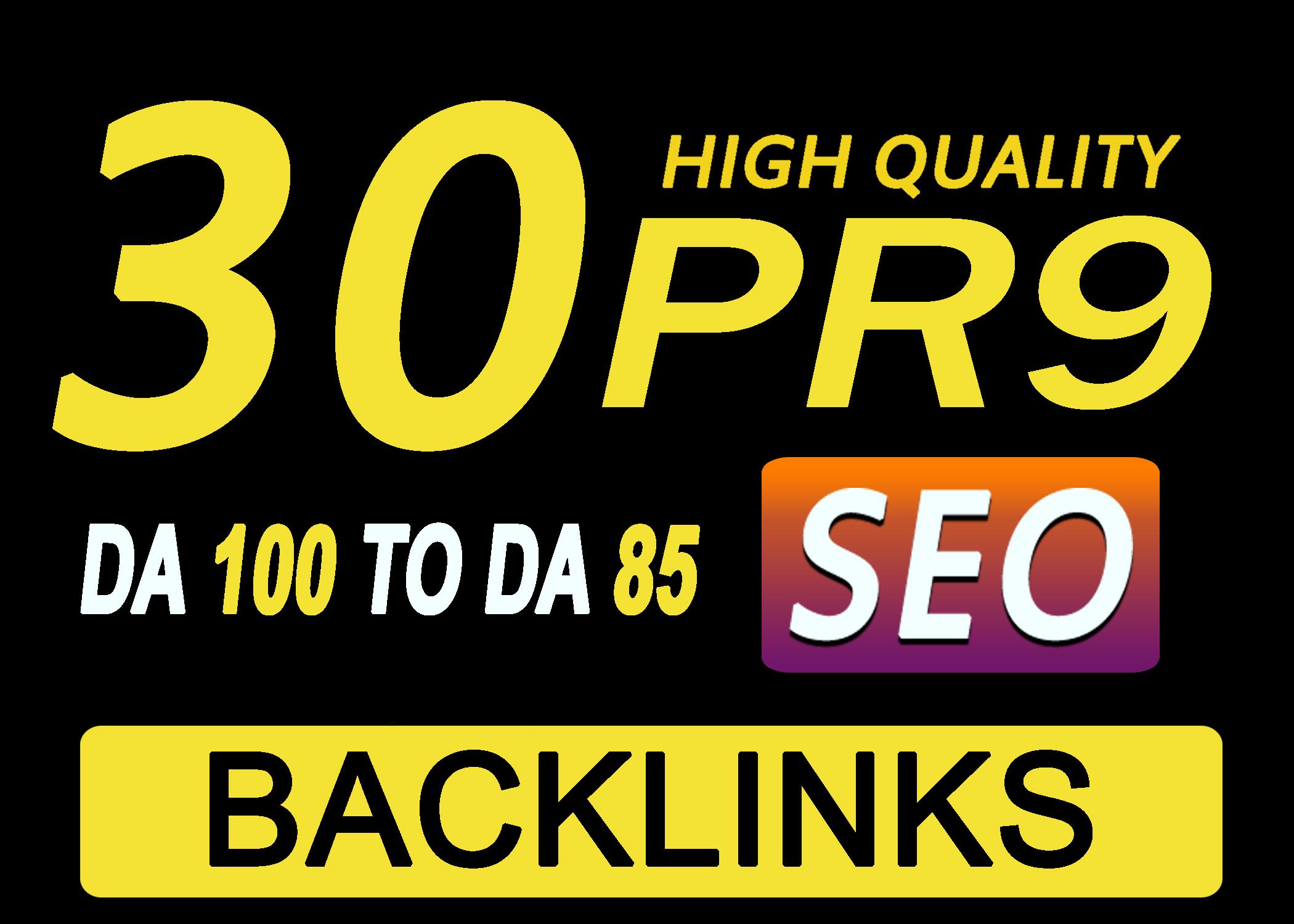 Manually Do 30 Pr9 DA 80+ Safe SEO High Authority Backlink