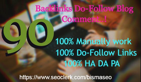 I will provide 90 unique do-follow backlinks DA30+