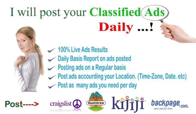 I will post your classified ad to top 100 classified websites