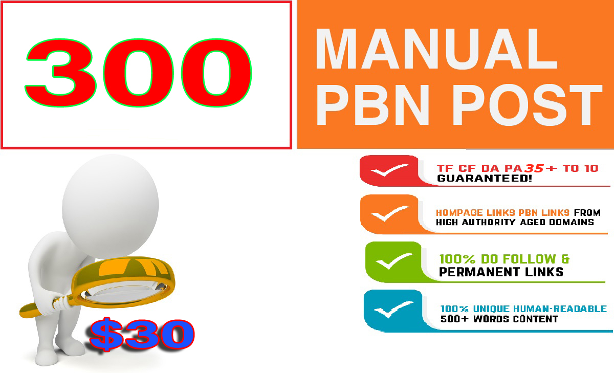 Build 300+ Backlink and 30+ Da 300+PA DOFOLLOW and Homepage pbn with 300+unique websile link for 30