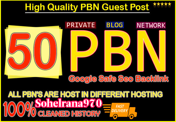 50 Permanant Manual High DA 20-40 Homepage Dofollow PBN Backlinks