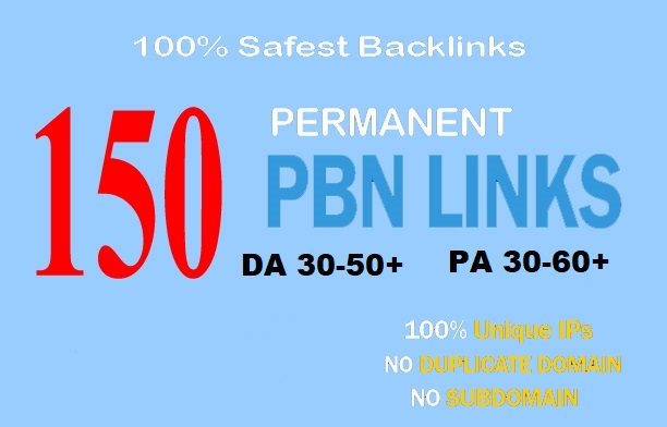 Build 150+ Backlink PA 30-50+ DA 30-60+ PA DOFOLLOW and Homepage pbn with 250+ unique websile link