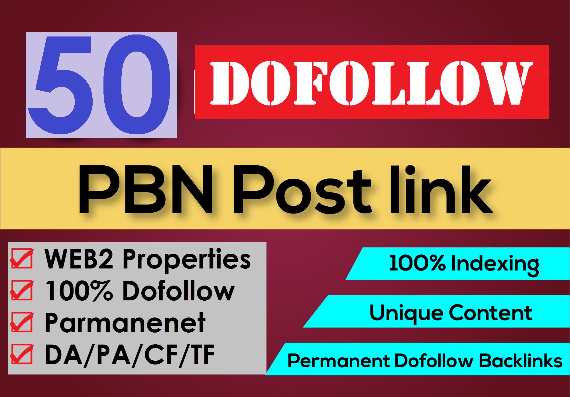 50 PBN blog post from High DA PA TF CF Dofol_ow Web2 Properties Link Building Service
