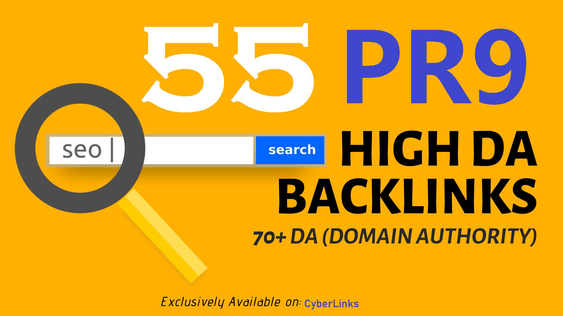 I Will Do 55 PR-9 QUALITY Backlinks from TOP 90+DA High Authority Sites Google Friendly SEO Links
