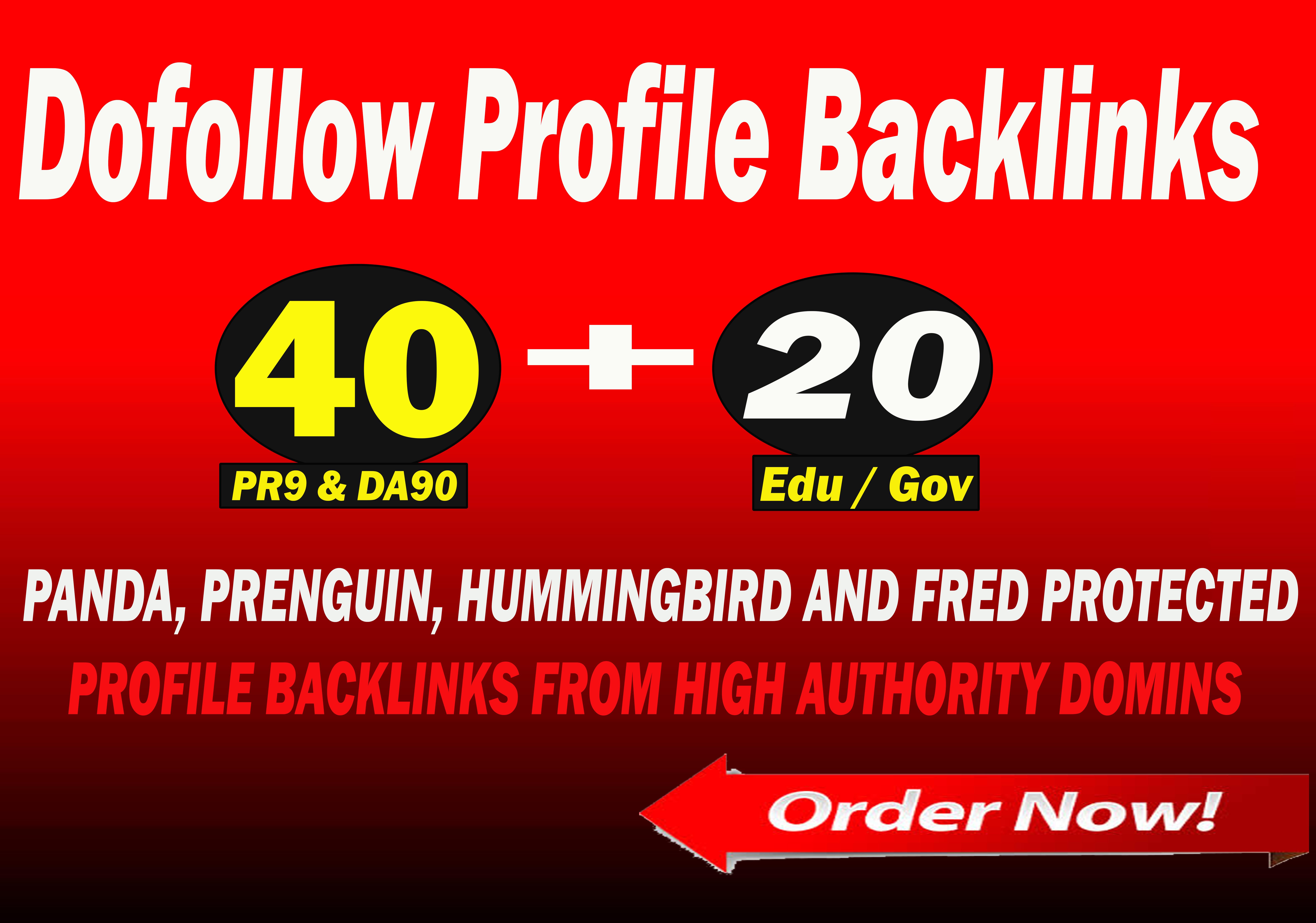 Create 40 Pr9 + 20 Edu - Gov SEO Authority Backlinks - Fire Your Google Ranking
