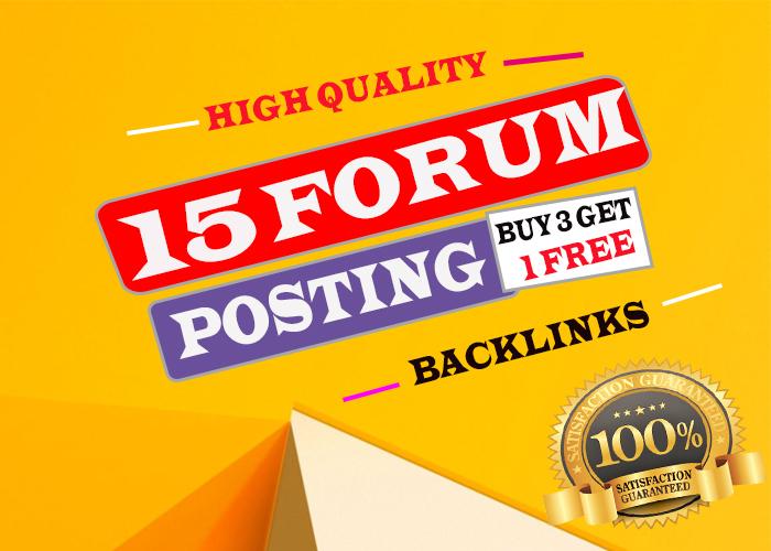 Create 15+ Niche Relevant Forum Posting with high DA Backlinks