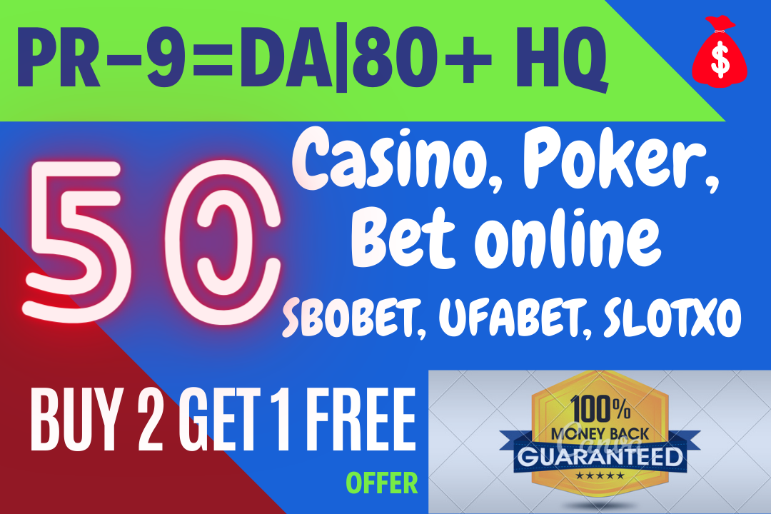 Adult,  Escort or Casino,  poker,  Bet online for 50 PR-9 or DA-70+ High Quality Backlinks