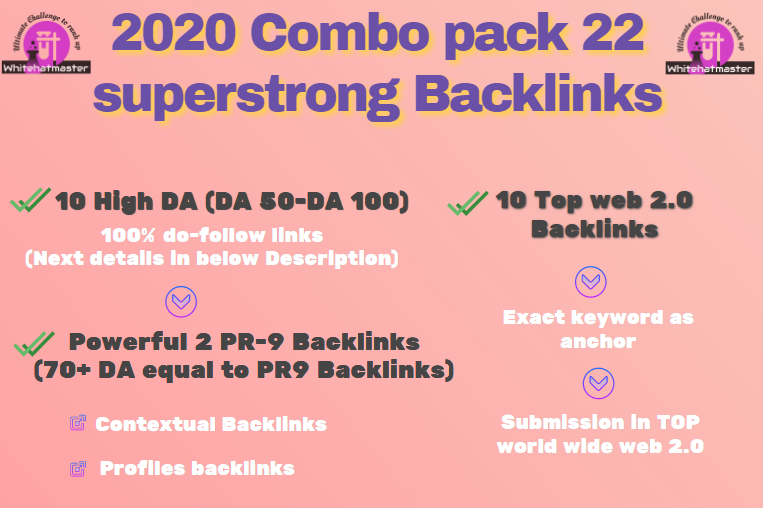 Buy 22 High DA & PR-9 equal 70+ DA & web 2.0 Backlinks