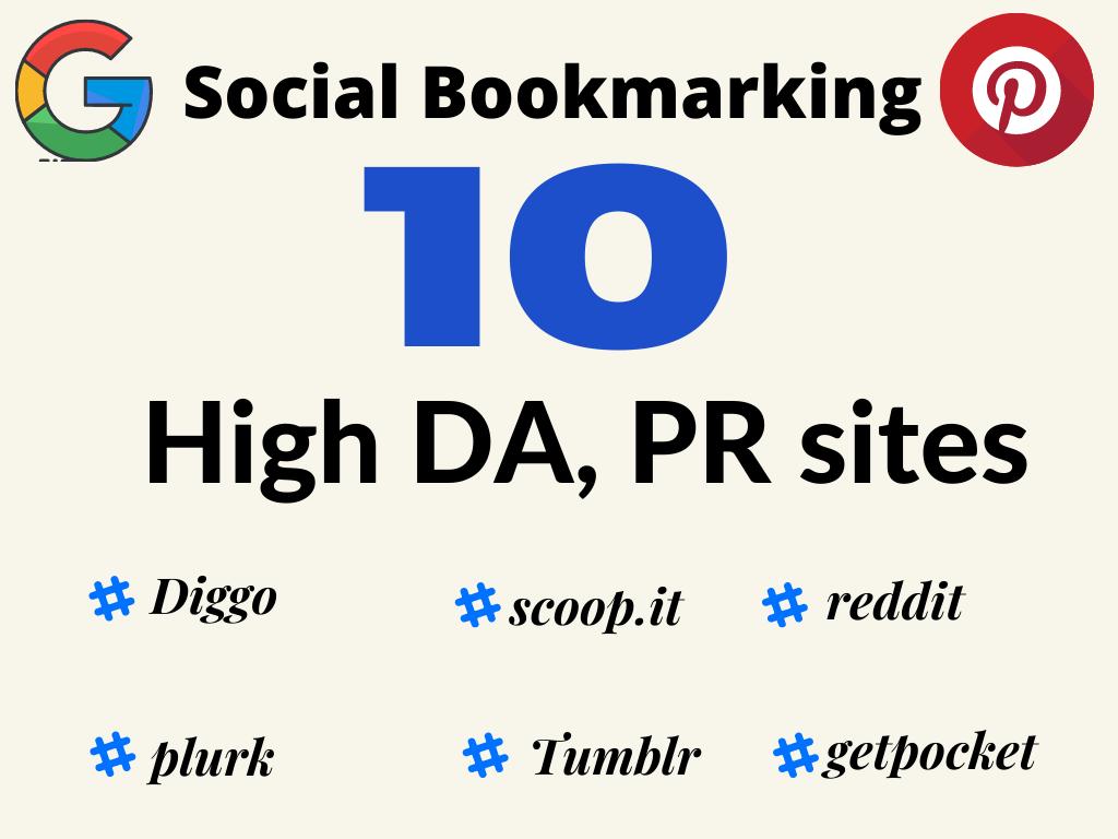10 HIgh DA PR Diggo,  Reddit, plurk many more HIgh quality Social Bookmarking Backlinks for your site