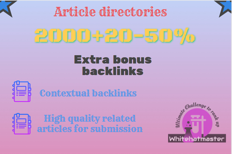 Buy 2000 Article directories Backlinks with extra bonus