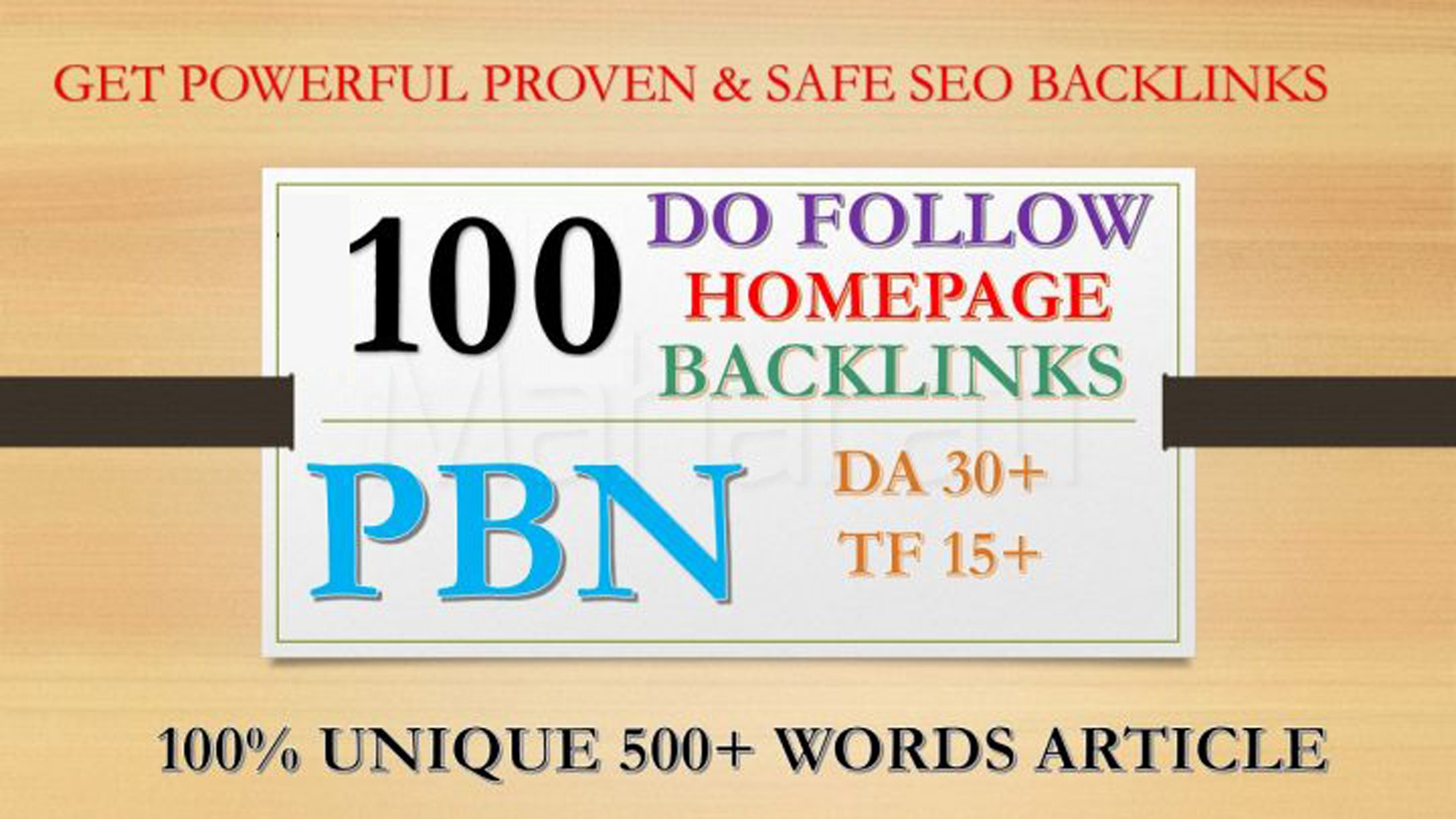 100 Permanant Manual High DA 30 - 40 Homepage Dofollow PBN Backlinks