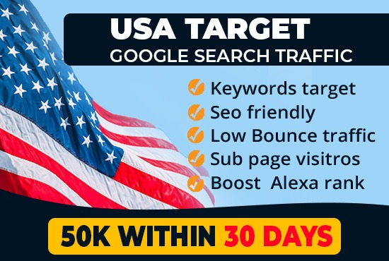 send 50,000 USA Organic target web traffic with low bounce rate