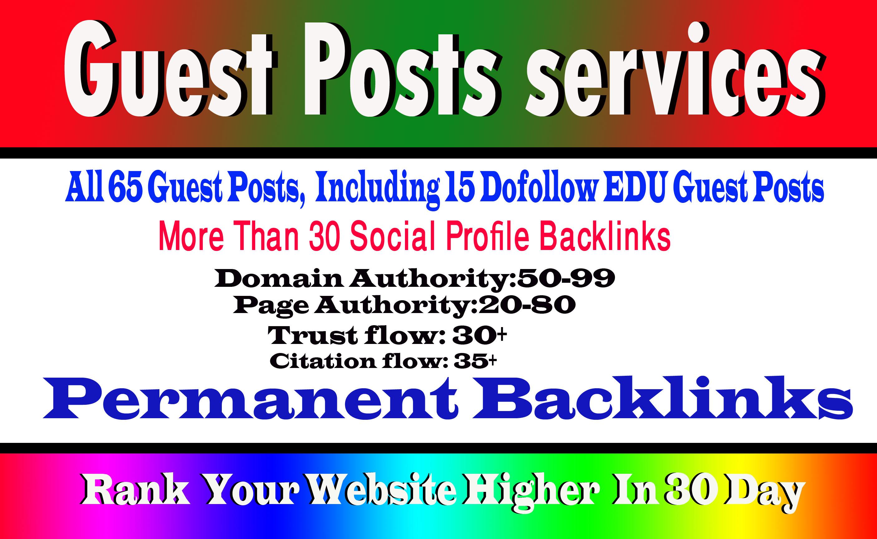 65 guest posts,  including 15 Edu guest post high Da sites and 30 more pr9 backlink