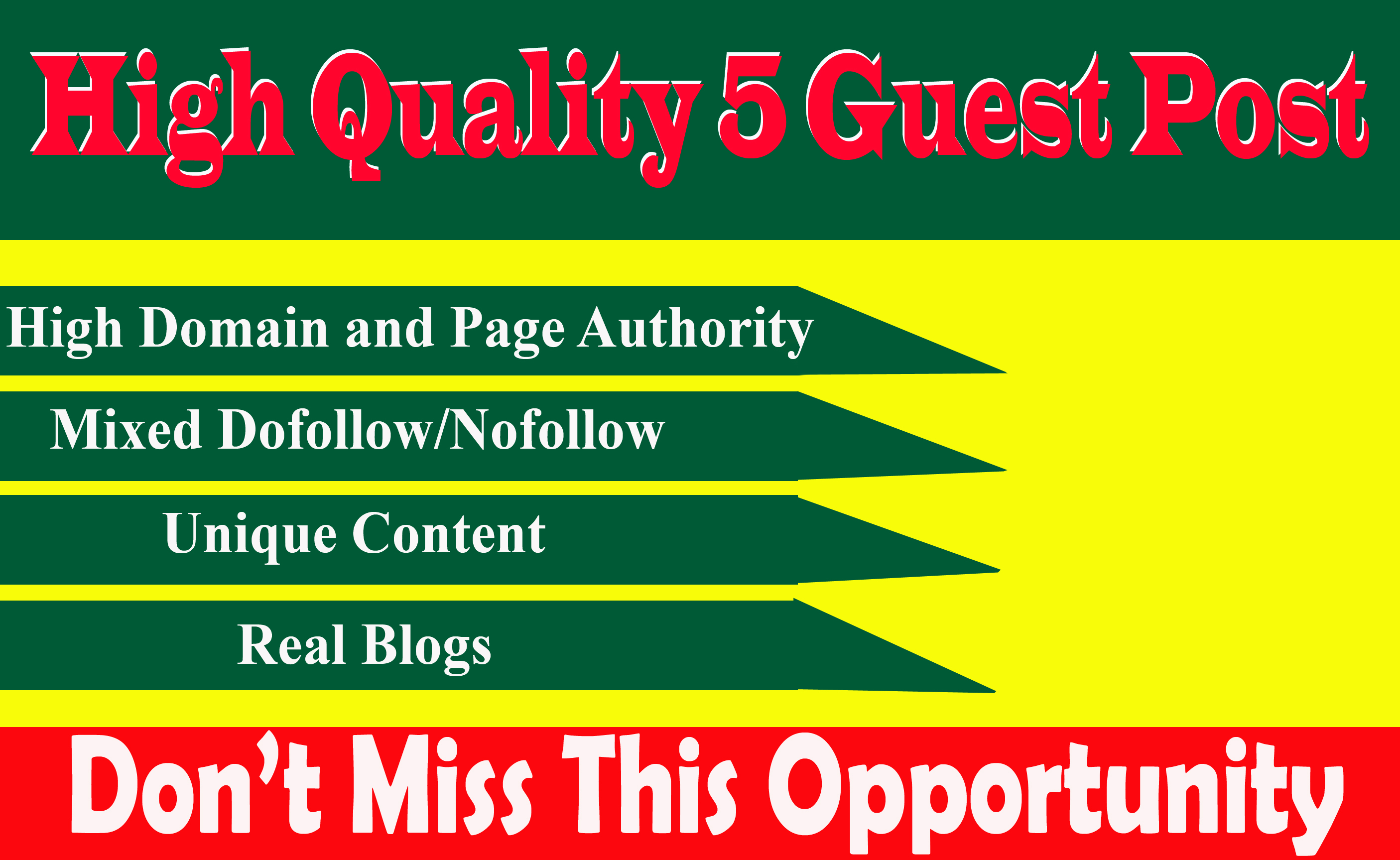 Write And Publish 5 Guest Post On High Traffic And High DA90+ Sites