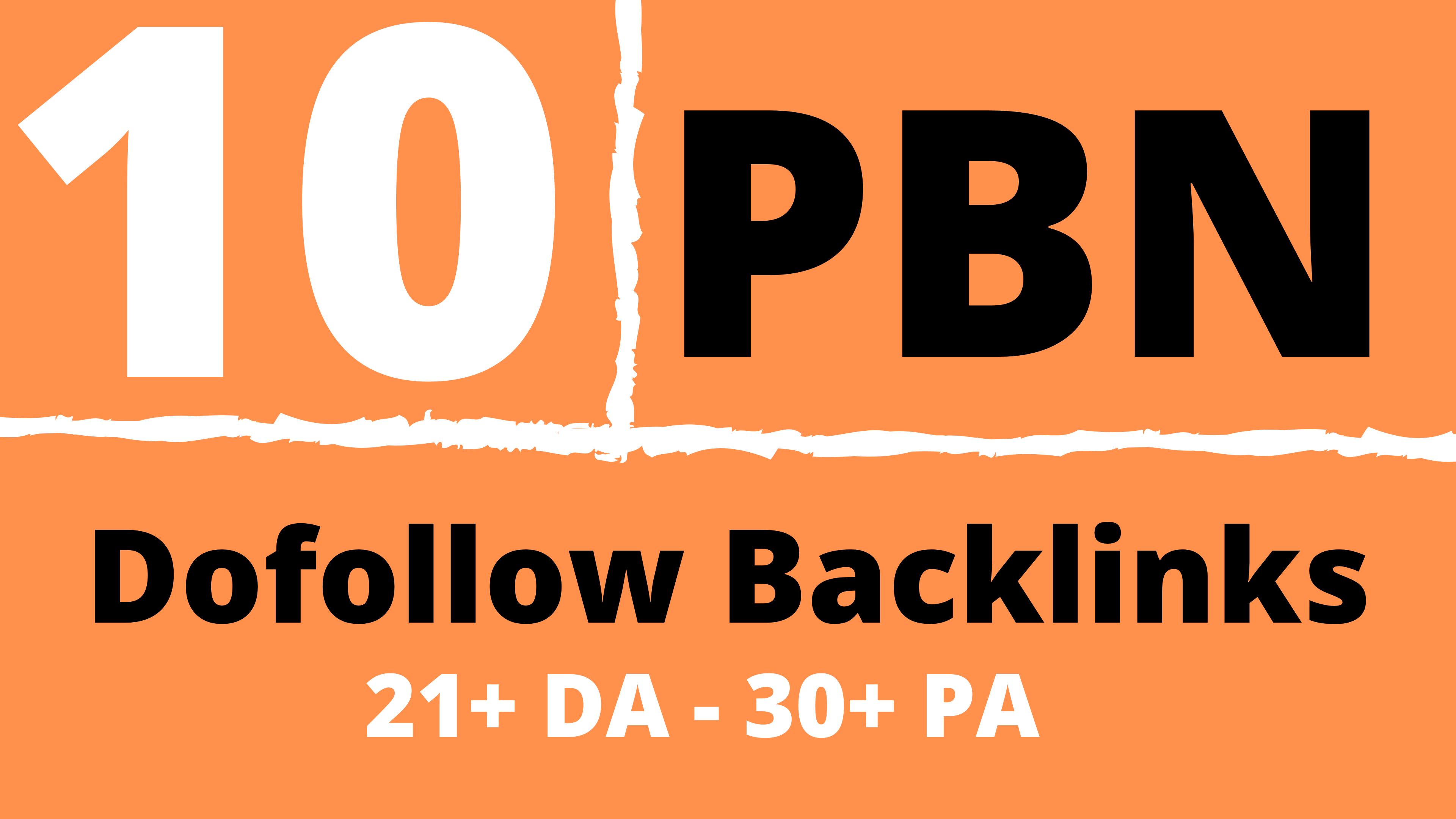 10 PBN Blog Dofollow Backlinks 21+ DA,  30+ PA Lifetime