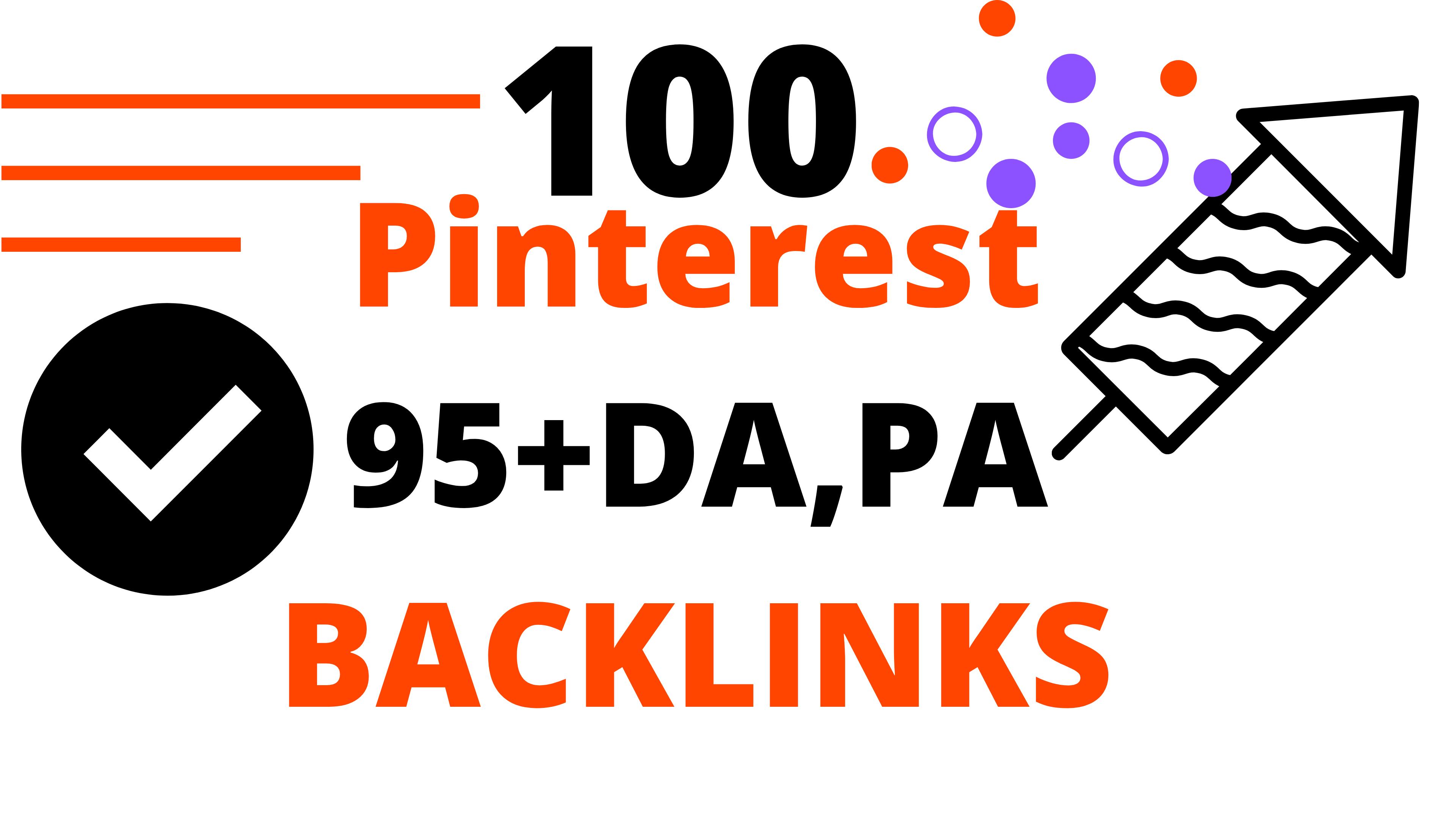 Powerful Pinterest 100 Backlinks 95+ DA,  PA High Quality Backlinks