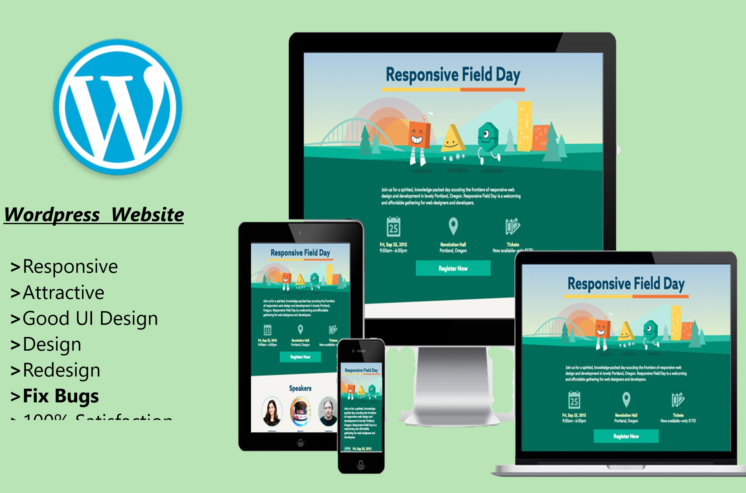 I will develope a responsive wordpress website and blog