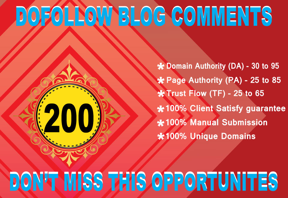 I will create 200 high quality Dofollow blog comments