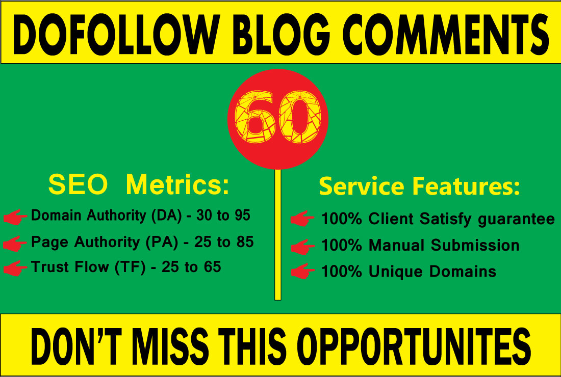 I will create 60 high quality Dofollow blog comments