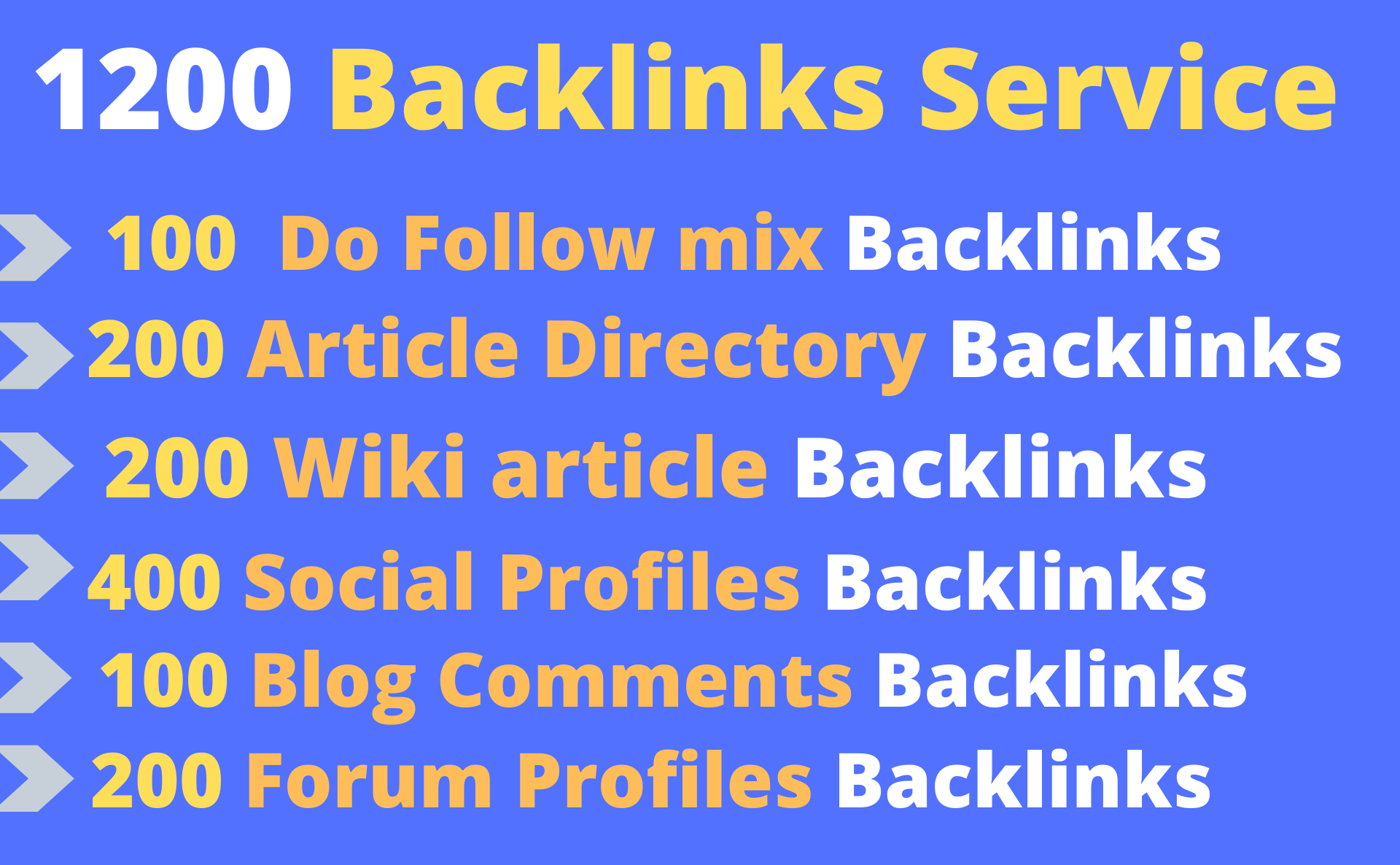 Provide 1200 backlinks including 200 Article directory, 200 Wiki article, 400 Social profiles backlin