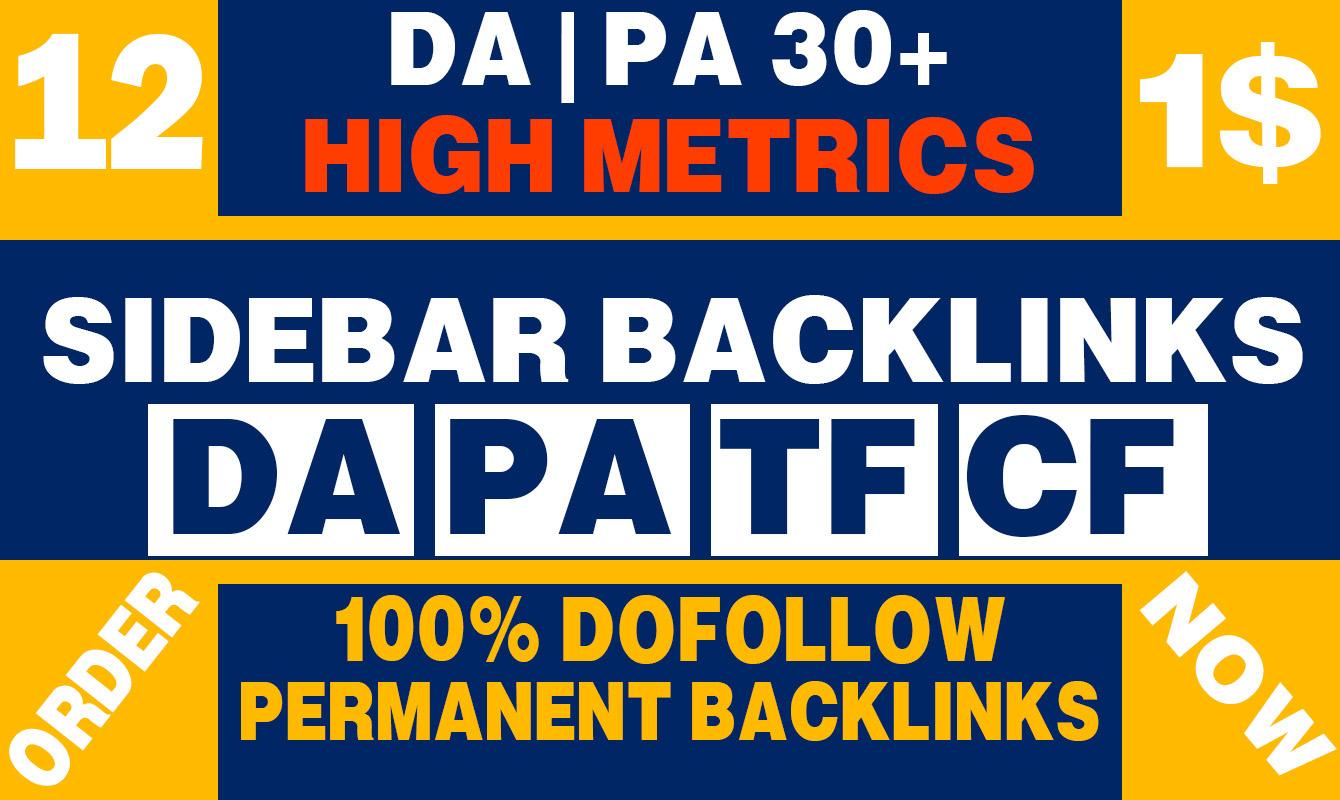 Permanent 12 Sidebar backlink on PBN Home Page High DA PA 30+ Dofollow