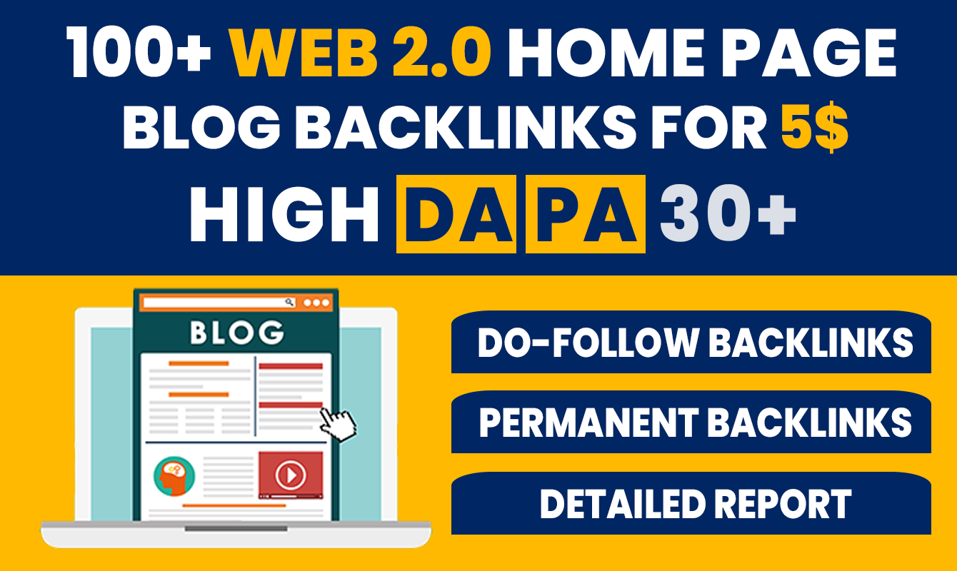 100+ High DA PA Permanent Web 2.0 Blog Home Page Back-links