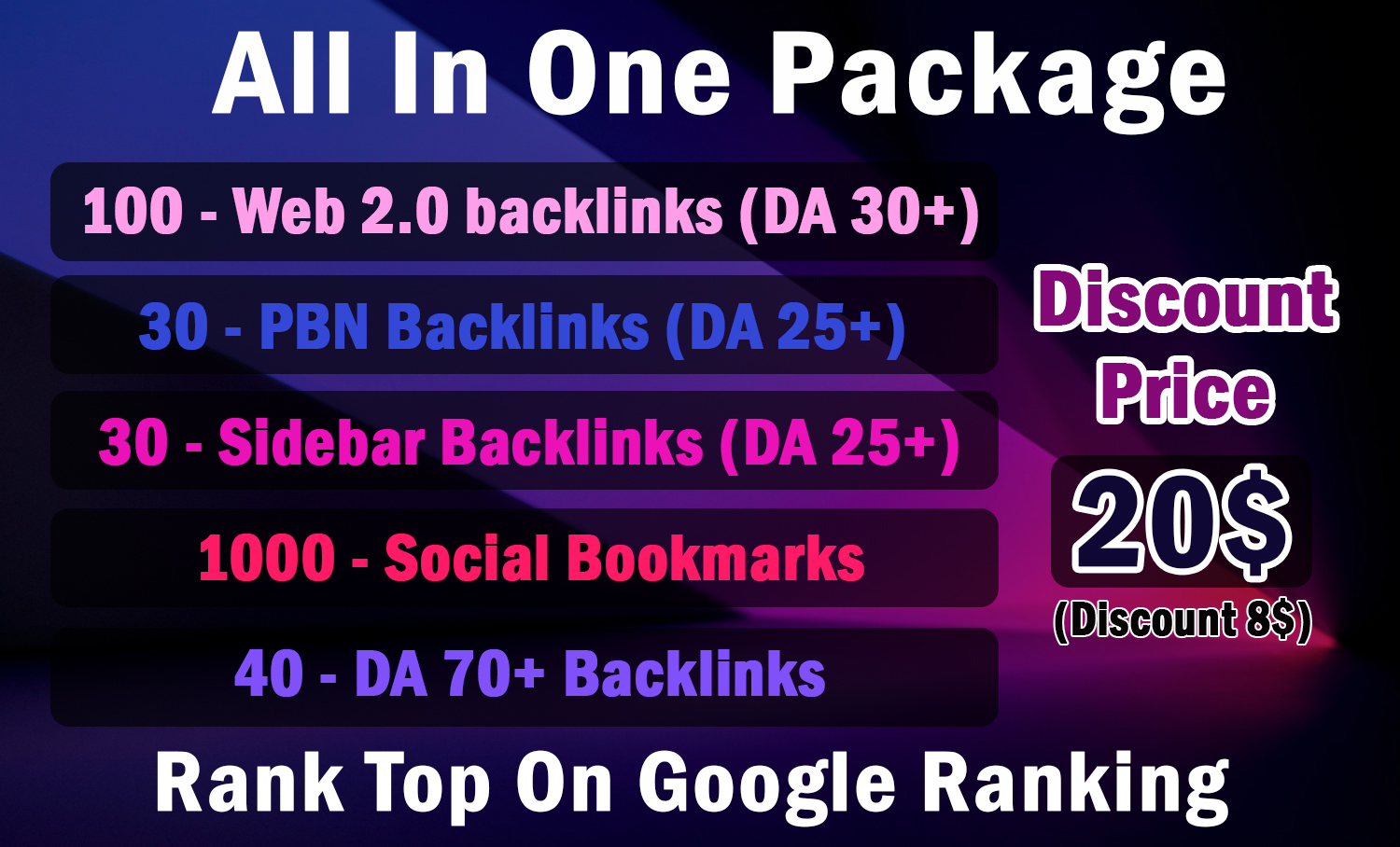 Cheapest All In One Backlinks Package for Fast Google Ranking