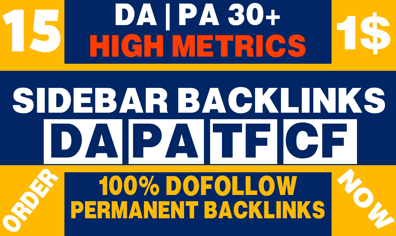 Permanent 15 Sidebar Dofollow Backlink on High DA PA 30+ PBN Home Page