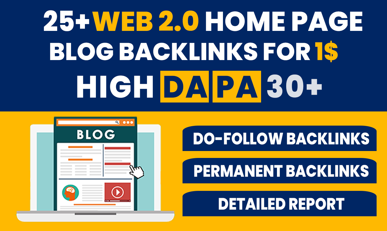 25+ High DA PA Permanent Web 2.0 Blog Home Page Back-links