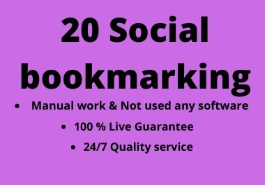 20 Social bookmarking for your website on high DA PA Sites
