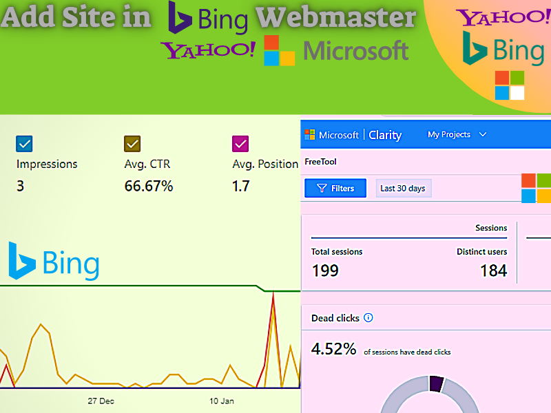 Setup Bing Webmaster and Microsoft Clarity dashboard for a Website