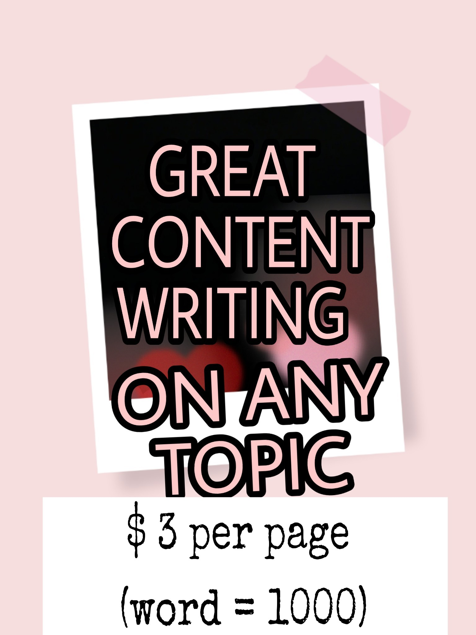 Great contents I write on any topics which you give.