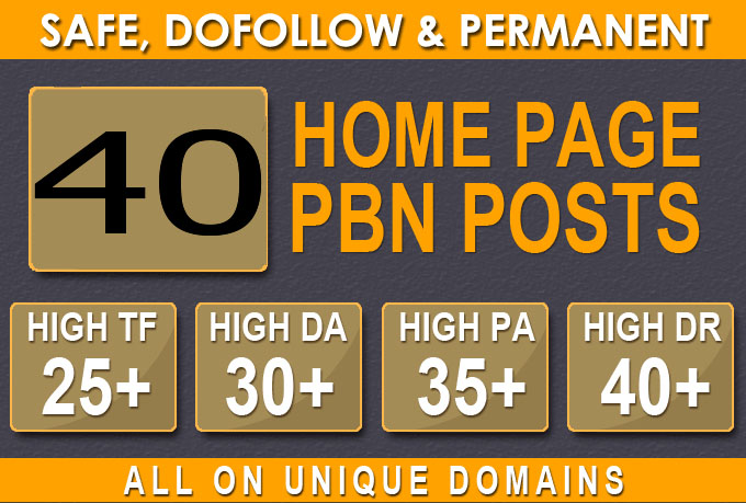Build 40+ Backlink with 30+ Da 35+ PA DOFOLLOW and Homepage pbn with 40+ unique websile link