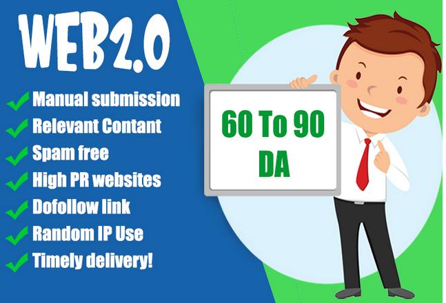 I will Build 50 contextual web2.0 high quality safe seo dofollow manual Backlinks